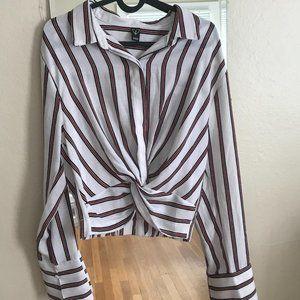 [LIKE NEW] Cropped Striped V-Neck Blouse Long